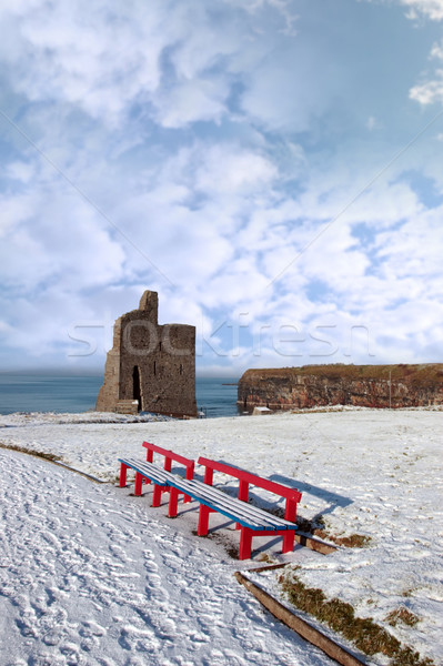 winters view of ballybunion castle and red benches Stock photo © morrbyte