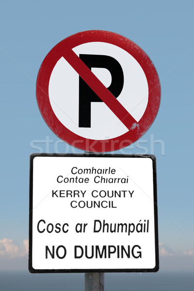 no parking and dumping sign on a cliff edge Stock photo © morrbyte