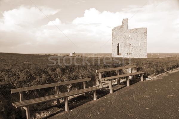 Szépia út kastély gyönyörű kilátás tengerpart Stock fotó © morrbyte