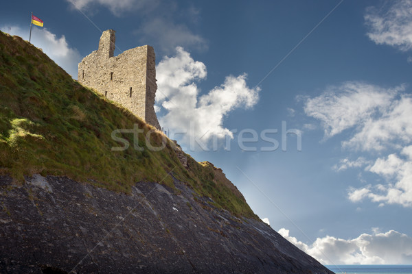 ballybunion castle on the cliff face Stock photo © morrbyte