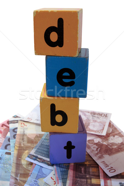 cash debt in toy play block letters Stock photo © morrbyte