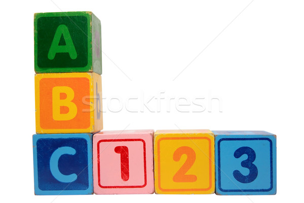 abc 123 in wood block letters with clipping path Stock photo © morrbyte