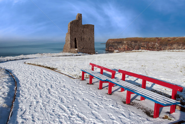 winter view of ballybunion castle and red benches Stock photo © morrbyte