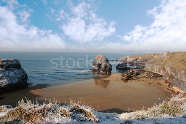Ijzig kust strand maagd rock sneeuw Stockfoto © morrbyte