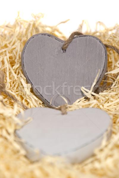 wooden hearts Stock photo © morrbyte