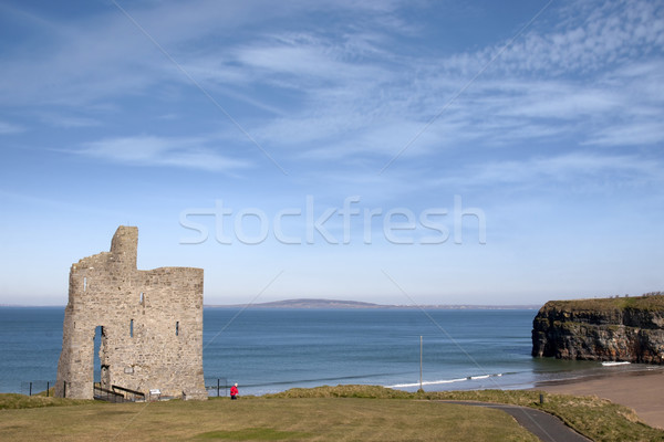 tourist walking to Ballybunion beach and castle Stock photo © morrbyte