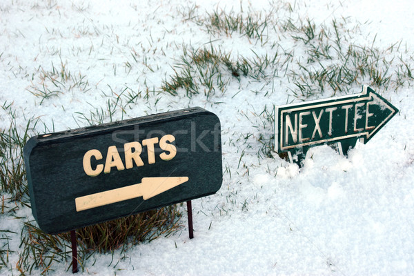 carts and next tee sign on a snow covered golf course Stock photo © morrbyte