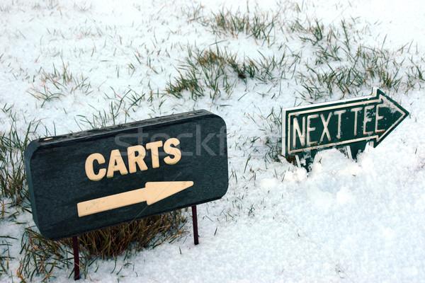 Próximo signo nieve cubierto campo de golf enlaces Foto stock © morrbyte