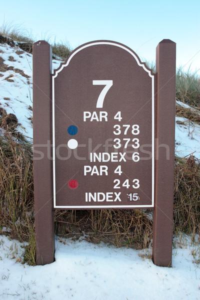 Assinar neve coberto ligações campo de golfe Irlanda Foto stock © morrbyte