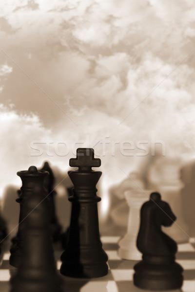 Piezas de ajedrez aislado cielo nublado negocios nubes Foto stock © morrbyte