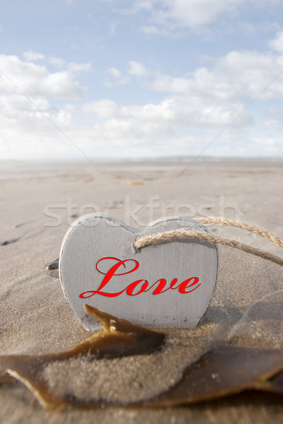 inscribed wooden love heart in the sand Stock photo © morrbyte