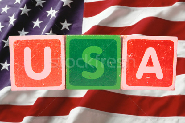 Stock photo: usa and flag in toy block letters