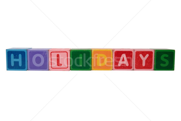 holidays in toy block letters Stock photo © morrbyte