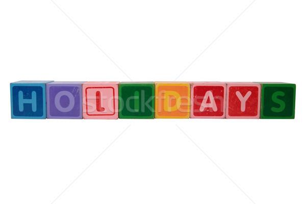 Vacanze giocattolo lettere bianco Foto d'archivio © morrbyte