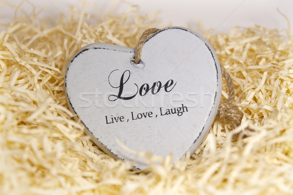 lonesome wooden heart in a love nest Stock photo © morrbyte
