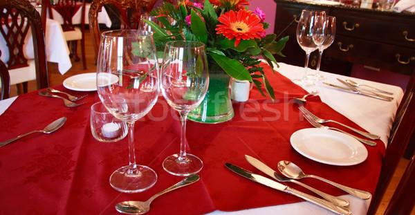 Ebéd ki 10 romantikus étel virágok Stock fotó © morrbyte