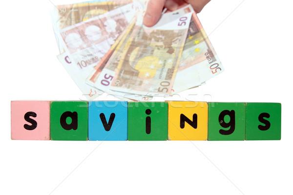 Euro tasarruf oyuncak harfler beyaz Stok fotoğraf © morrbyte