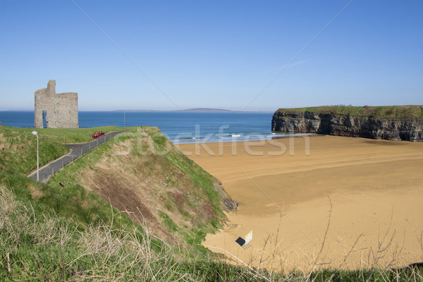 benches and path view of Ballybunion castle Stock photo © morrbyte