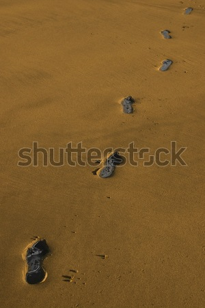 Carbonio impronte spiaggia Irlanda texture Foto d'archivio © morrbyte