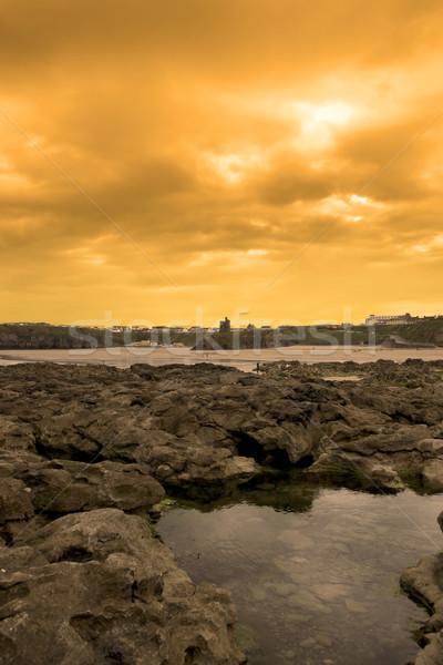 Rock zamek wygaśnięcia dziwne plaży Irlandia Zdjęcia stock © morrbyte
