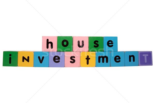 Casa investimento giocattolo lettere bianco Foto d'archivio © morrbyte