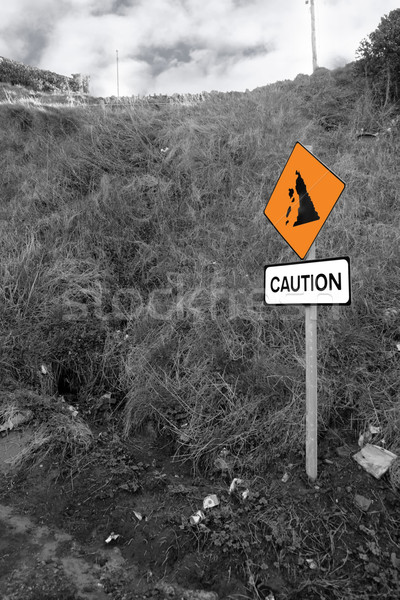 landslide caution sign in ireland Stock photo © morrbyte