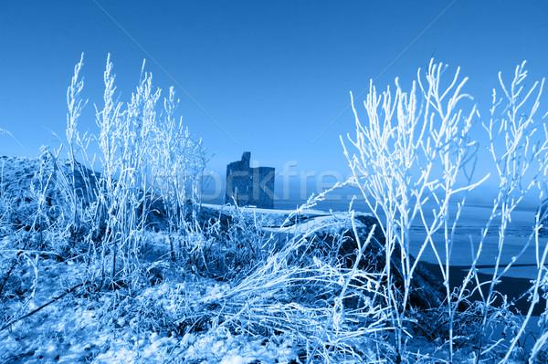 Stock photo: christmas season view of ballybunion castle and beach in blue sn