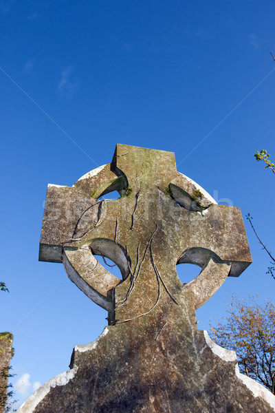 celtic headstone in Templemichael graveyard Stock photo © morrbyte