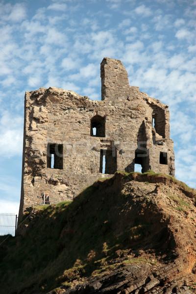ballybunion castle ruin on a green and rocky cliff Stock photo © morrbyte