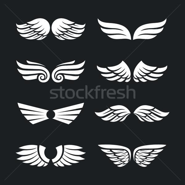 セット ベクトル 翼 異なる 孤立した 暗い ストックフォト © morys