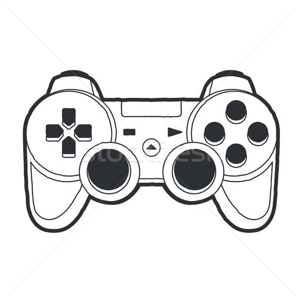 Bedieningshendel vector kunst gamepad geïsoleerd witte Stockfoto © morys