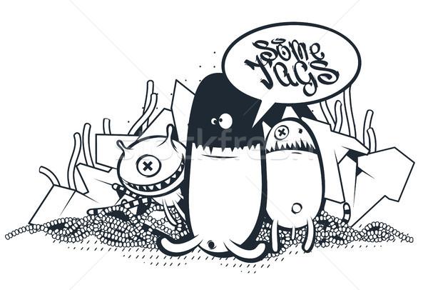 Graffiti firka művészet vektor betűk szövegbuborék Stock fotó © morys