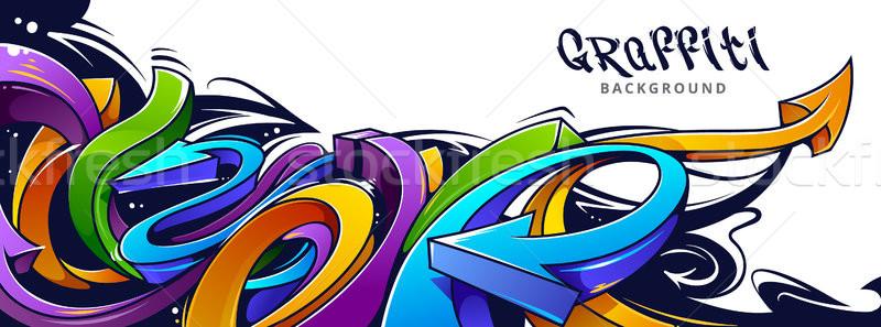 Graffiti nyilak vízszintes absztrakt vibráló színek Stock fotó © morys