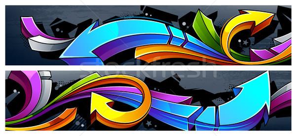 落書き バナー 2 水平な 抽象的な ストックフォト © morys