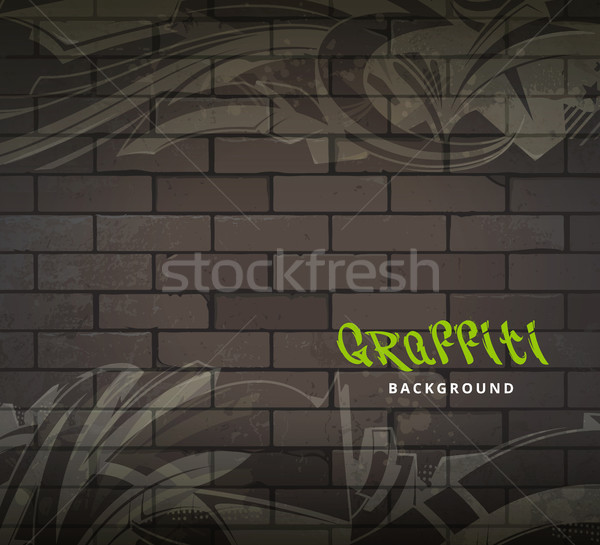 Graffiti vector sucia pared de ladrillo resumen artes Foto stock © morys