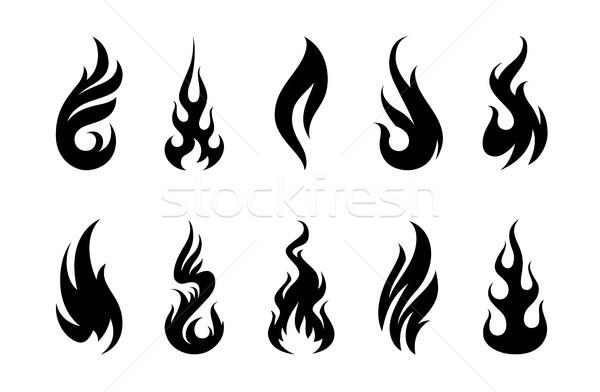 ベクトル 炎 セット 異なる 火災 ストックフォト © morys