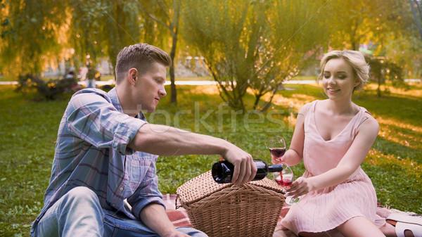 Férfi tömés szemüveg rubin bor közmondás Stock fotó © motortion