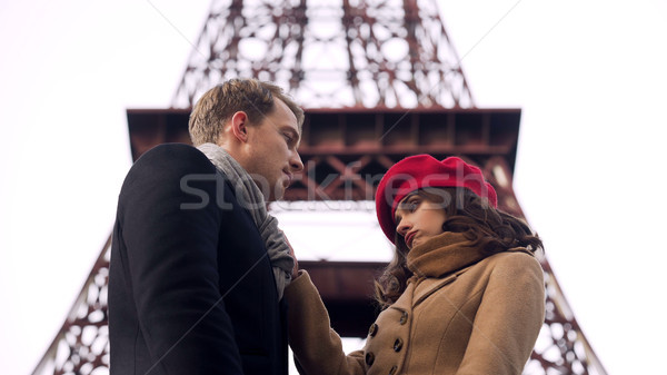 Careless girl leaving man in love, end of romantic relationship, breakup Stock photo © motortion