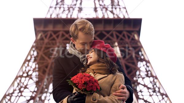 Stock fotó: édes · pár · ölel · romantikus · randevú · csinos