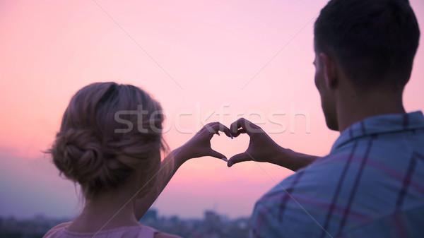 Stock fotó: Szerelmespár · kezek · együtt · forma · szív · szeretet