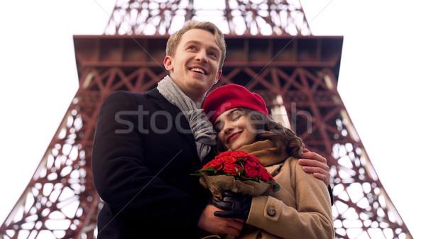 Stock fotó: Férfi · ölel · szeretett · nő · romantikus · randevú