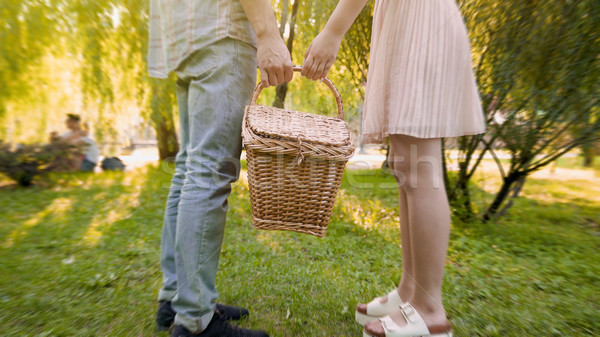 Couple in love carrying wicker basket together, choosing place for picnic, date Stock photo © motortion