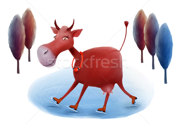 Skating cow illustration Stock photo © motttive
