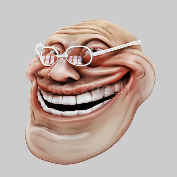 Trollface spectacled. Internet troll 3d illustration Stock photo © motttive