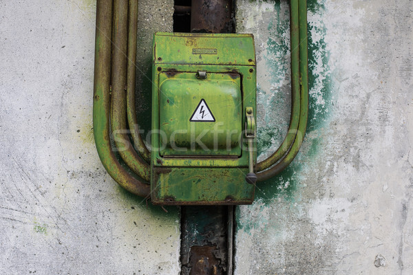 Edad verde Rusty metal cambiar pared Foto stock © motttive