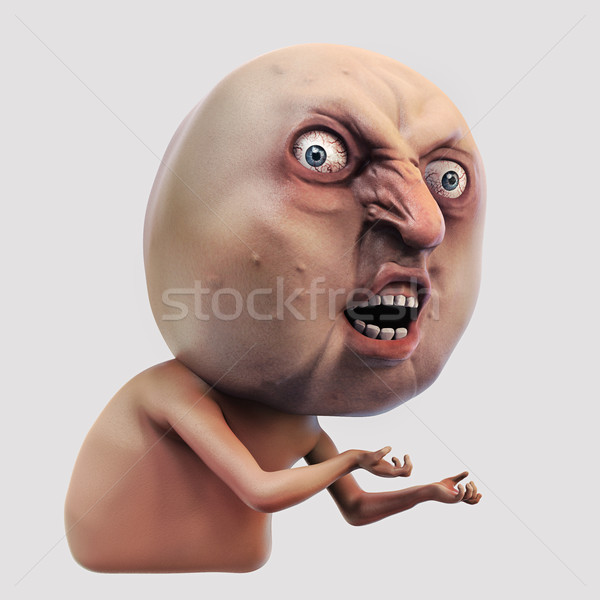 Internet meme Why You No. Rage face 3d illustration Stock photo © motttive