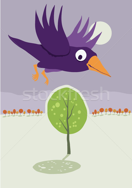 Crow flying over tree. Vector cartoon landscape. Stock photo © motttive