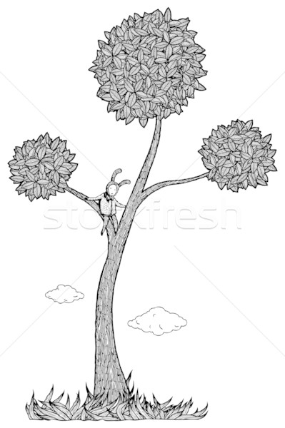 Foto stock: Nino · árbol · blanco · negro · jugar · perdido