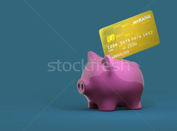 Foto stock: Alcancía · tarjeta · de · crédito · 3d · 3D · negocios
