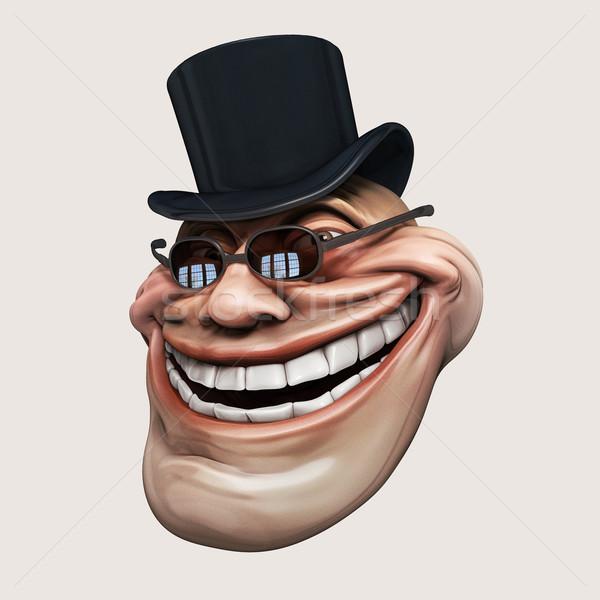 темно Hat интернет 3d иллюстрации смеясь изолированный Сток-фото © motttive
